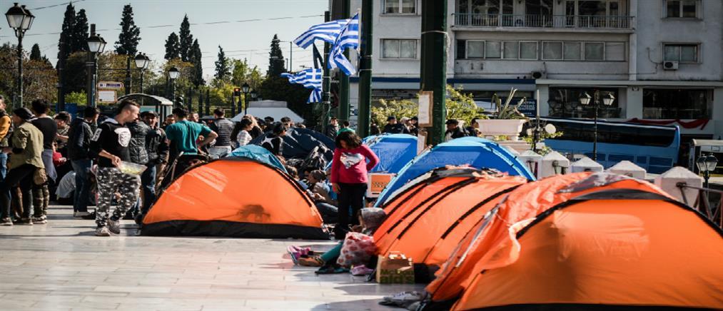 Σε σκηνές στο Σύνταγμα διανυκτέρευσαν πρόσφυγες