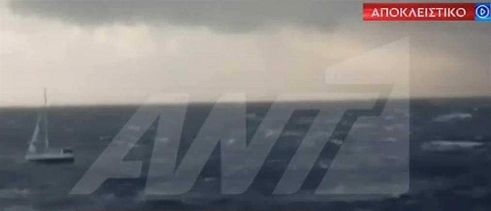 Αποκλειστικό ΑΝΤ1: Βίντεο με το ακυβέρνητο ιστιοφόρο στον Σαρωνικό