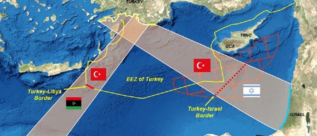 Νέος προκλητικός χάρτης από την Τουρκία: εξαφανίζει τη Ρόδο και θέλει ΑΟΖ με το Ισραήλ