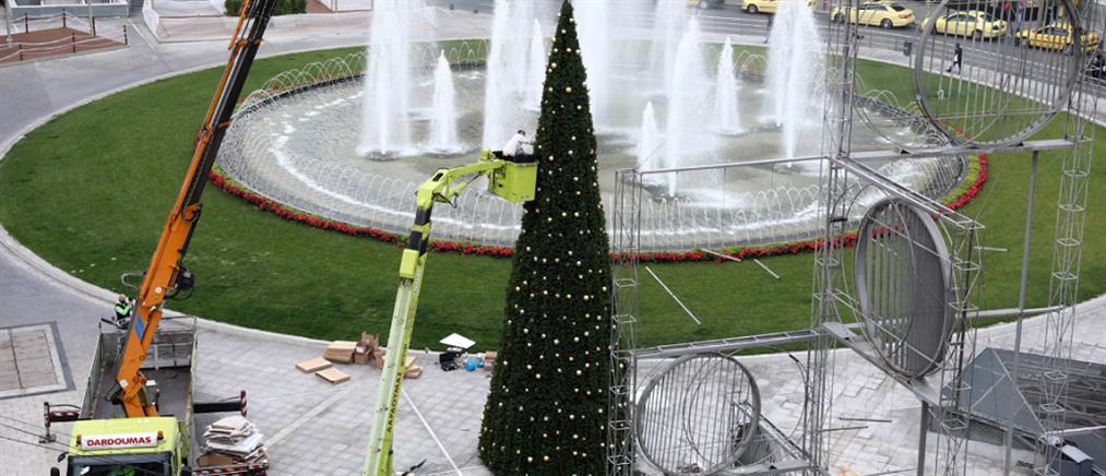 Έτοιμο το χριστουγεννιάτικο δέντρο στην Ομόνοια (εικόνες)