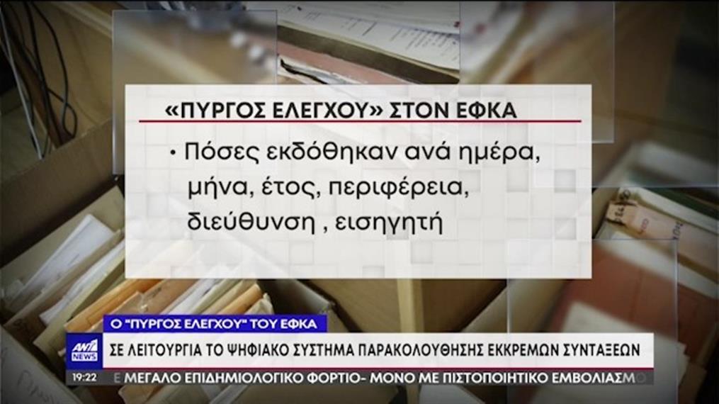 """Συντάξεις: Ο """"Πύργος Ελέγχου"""" του ΕΦΚΑ τέθηκε σε λειτουργία"""