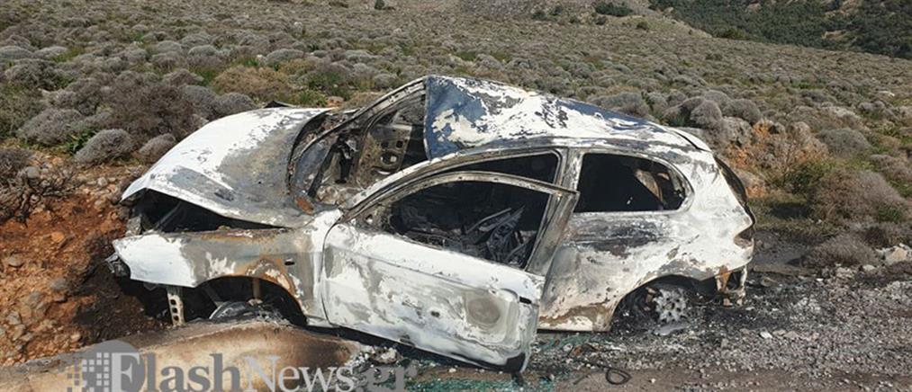 """Αυτοκίνητο """"έσκασε"""" σε τοίχο και τυλίχθηκε στις φλόγες (εικόνες)"""