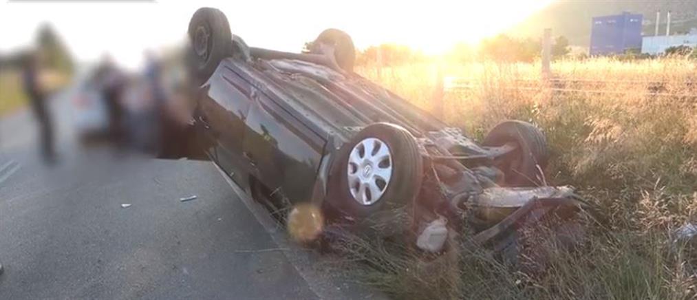 Απεγκλωβισμός από όχημα που ανετράπη στην Εθνική Οδό (εικόνες)