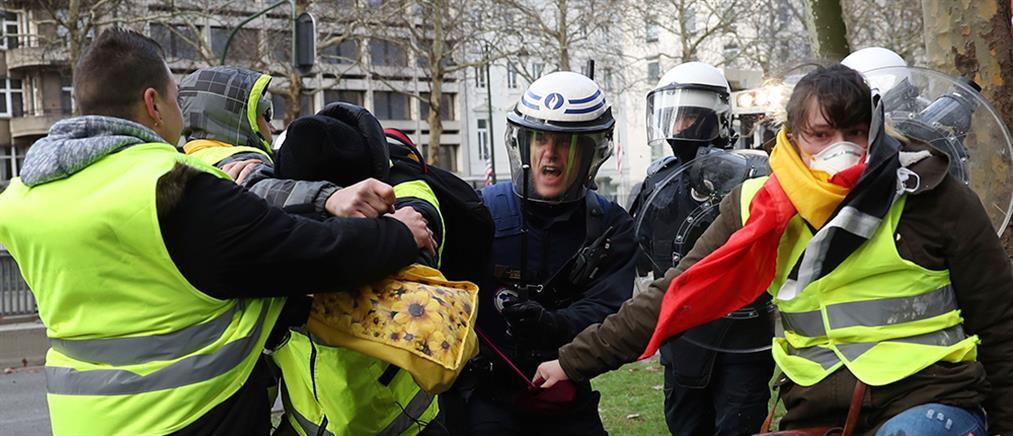 """""""Κίτρινα γιλέκα"""": επεισόδια και στις Βρυξέλλες (εικόνες)"""