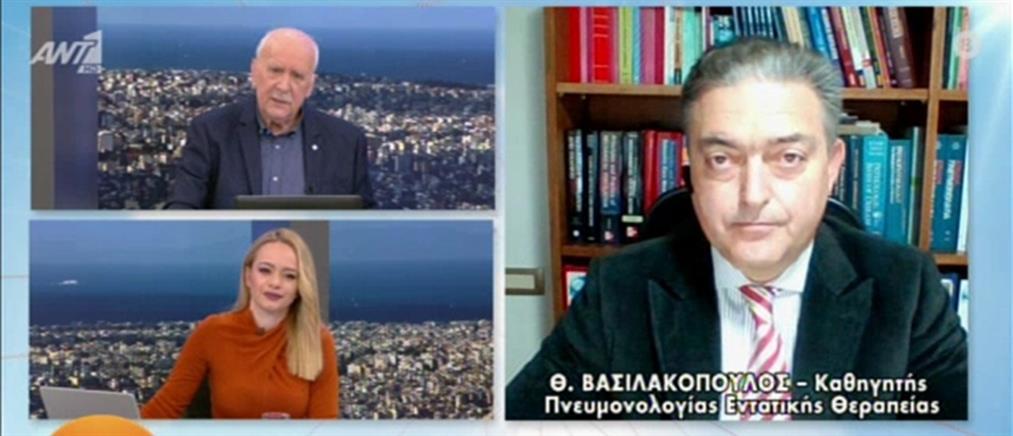Βασιλακόπουλος: Διευκρινίσεις στον ΑΝΤ1 για τις μάσκες, το εμβόλιο και την κολχικίνη (βίντεο)