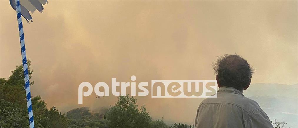 Φωτιά στην Ηλεία: Οι φλόγες απειλούν χωριά (βίντεο)