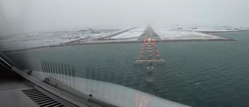 Viral: Πιλότος καταγράφει την προσγείωσή του στο χιονισμένο αεροδρόμιο Μακεδονία (βίντεο)