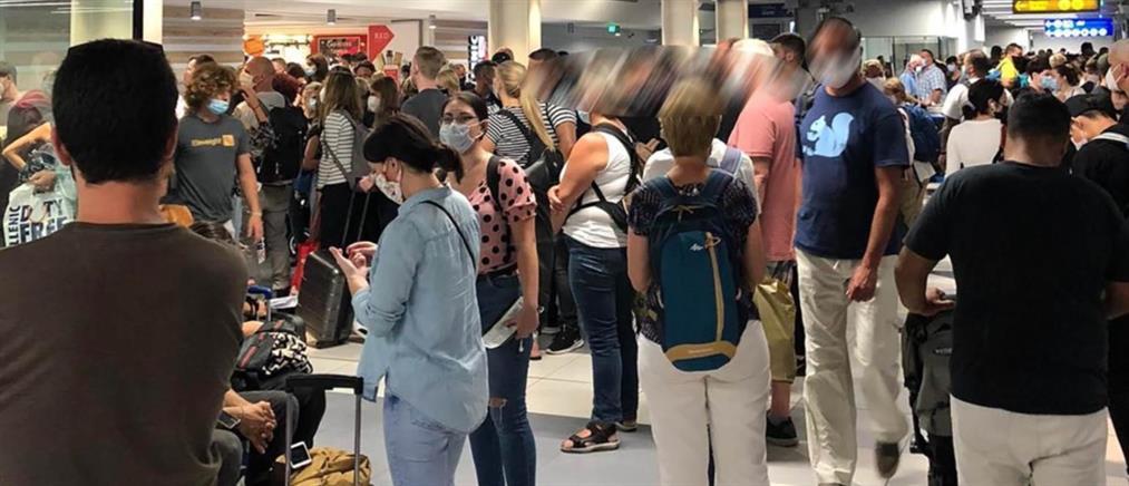 """Συνωστισμός και καυγάδες στο αεροδρόμιο """"Νίκος Καζαντζάκης"""" (εικόνες)"""