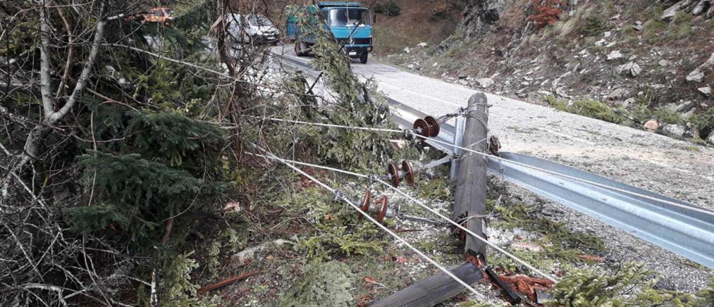 """Τρίκαλα: Οι θυελλώδεις άνεμοι """"γκρέμισαν"""" κολόνες της ΔΕΗ"""