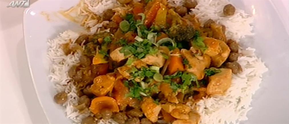 Κοτόπουλο με κάρυ και κρεμώδη σάλτσα