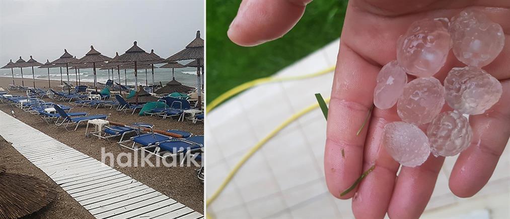 Καταστροφές από μπουρίνι στη Χαλκιδική (εικόνες)