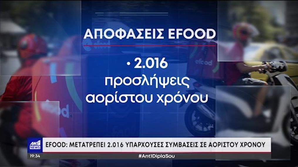 """""""Efood"""": Μετατρέπει 2016 υπάρχουσες θέσεις σε αορίστου χρόνου"""