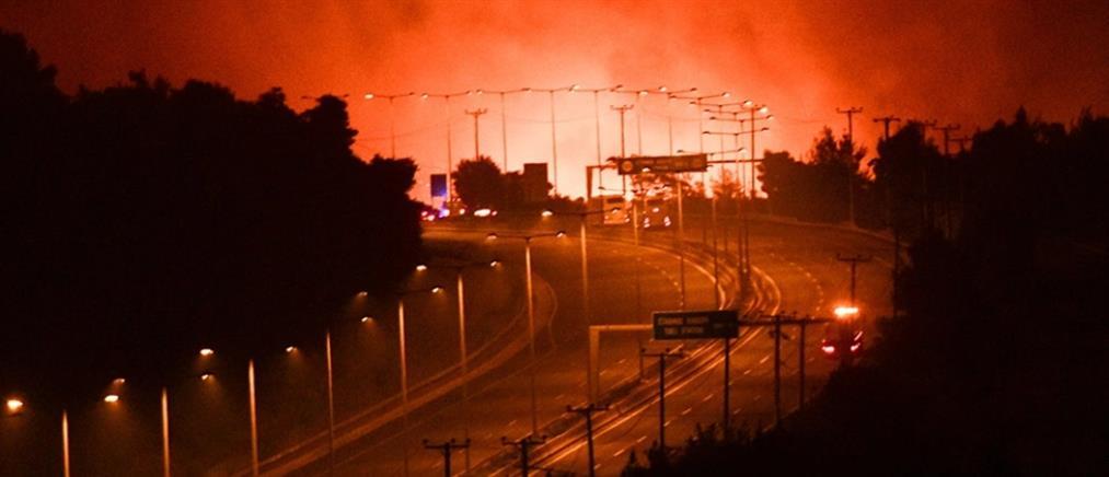 Φωτιά στην Αττική - Μαλακάσα: πέρασε την Εθνική το πύρινο μέτωπο