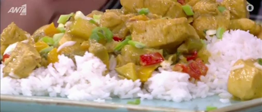 Κοτόπουλο με κάρυ και ρύζι μπασμάτι από τον Πέτρο Συρίγο