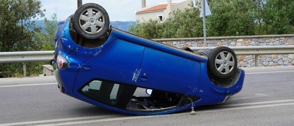 Τροχαίο με ανατροπή αυτοκινήτου (εικόνες)