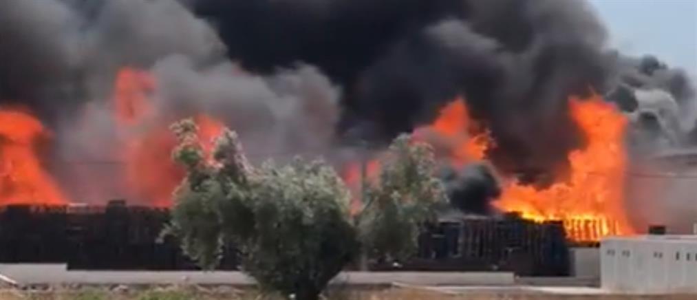 Ασπρόπυργος: Φωτιά σε εταιρεία (βίντεο)