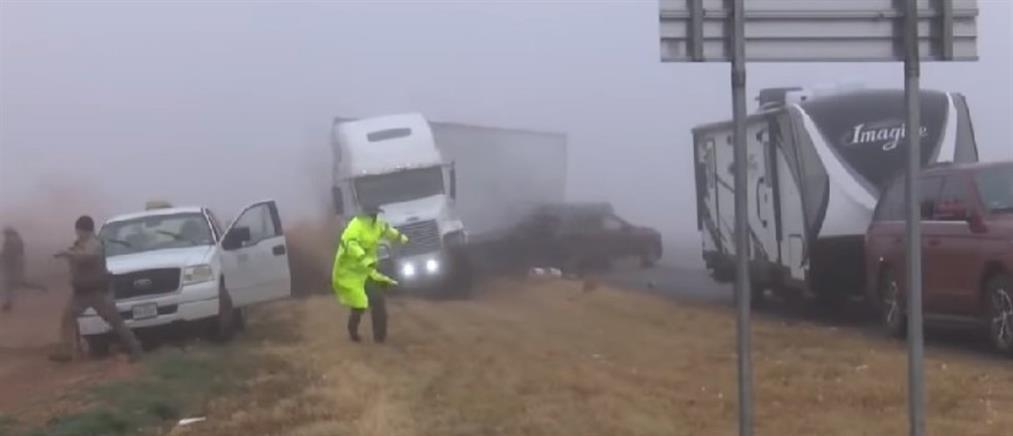 Φορτηγό... στην ομίχλη, προκαλεί τρόμο και καταστροφή (βίντεο)