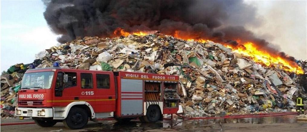 Κίνδυνος τοξικών αναθυμιάσεων από πυρκαγιά σε εταιρεία διαχείρισης αποβλήτων (βίντεο)