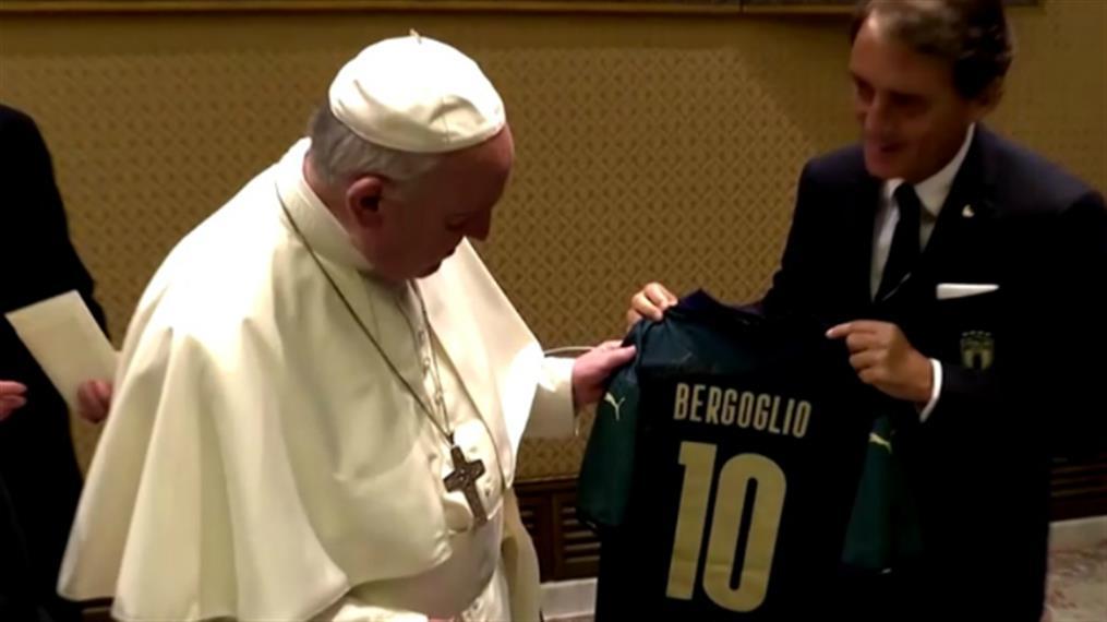 Η εθνική Ιταλίας στον Πάπα Φραγκίσκο