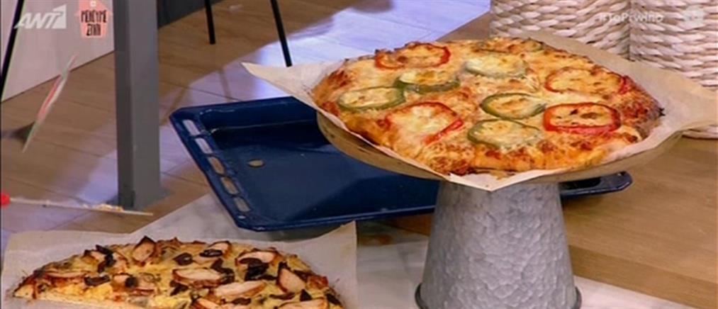 Πίτσα με κιμά και πίτσα με κοτόπουλο BBQ από τον Βασίλη Καλλίδη