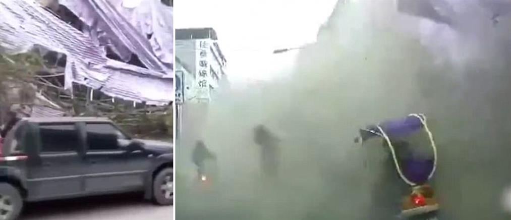 Βίντεο: η στιγμή που 5όροφη σκαλωσιά πέφτει σε πεζούς και αυτοκίνητα
