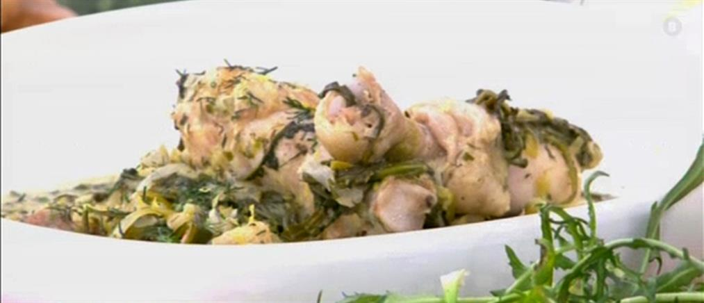 Κοτόπουλο με σταμναγκάθι αυγολέμονο από τον Πέτρο Συρίγο