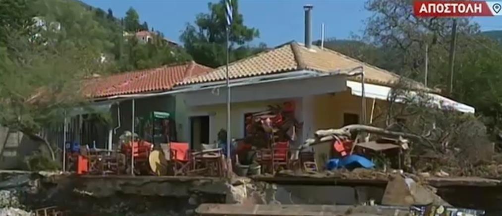 """Ο ΑΝΤ1 στο Φισκάρδο που """"μετρά τις πληγές του"""" από την κακοκαιρία (βίντεο)"""