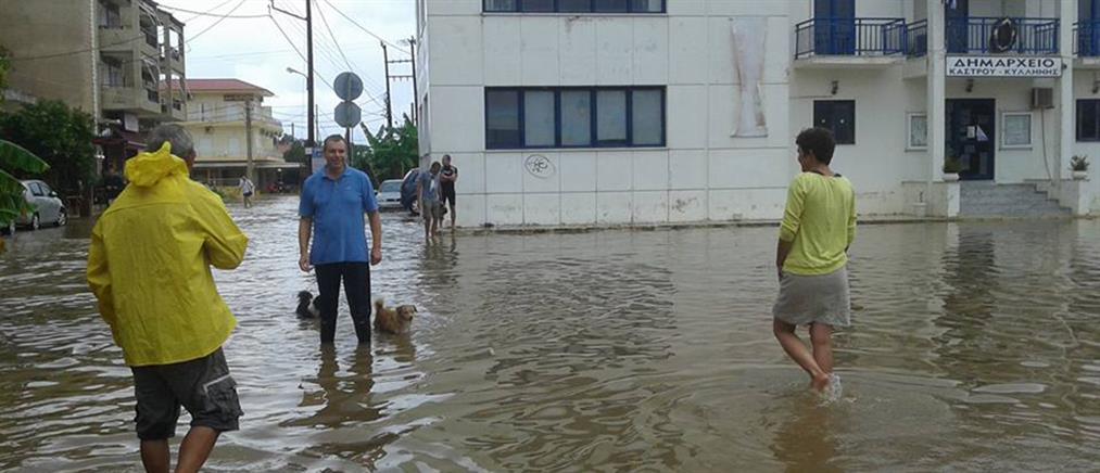 Πλημμύρες και πτώσεις δένδρων στην Ηλεία (βίντεο+φωτο)