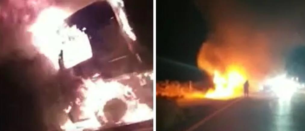 Νταλίκα τυλίχθηκε στις φλόγες (βίντεο)