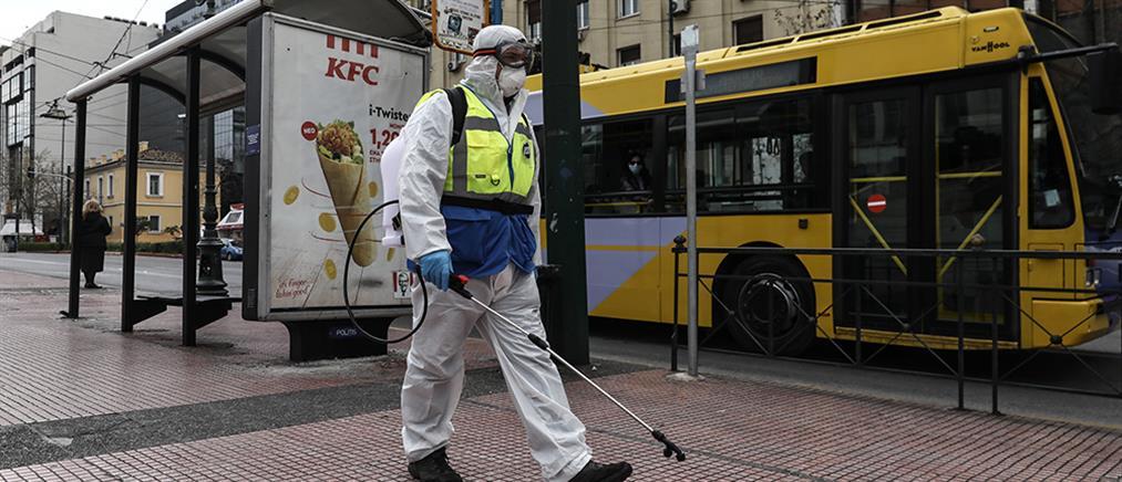 Απολύμανση σε στάσεις λεωφορείων στην Αθήνα