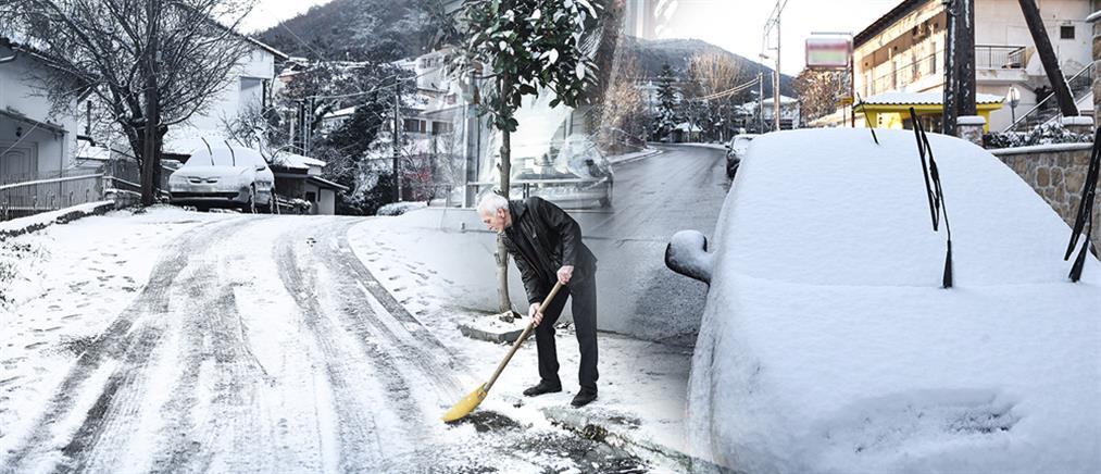 """""""Λέανδρος"""": Στα λευκά η βόρεια Ελλάδα (εικόνες)"""