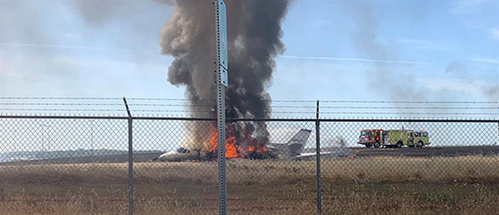 """Ιδιωτικό αεροπλάνο """"λαμπάδιασε"""" κατά την απογείωση (βίντεο)"""