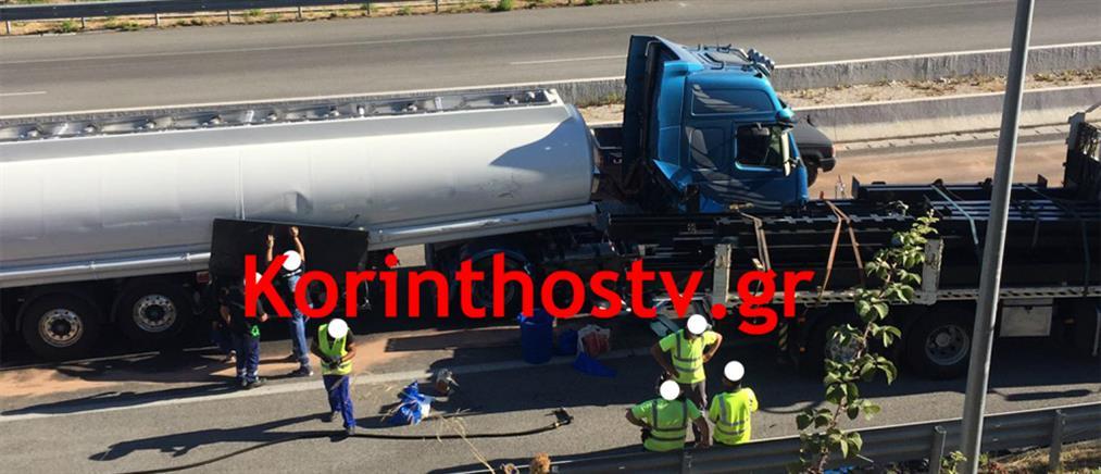 Σύγκρουση βυτιοφόρου με φορτηγό στην Εθνική Οδό (βίντεο)