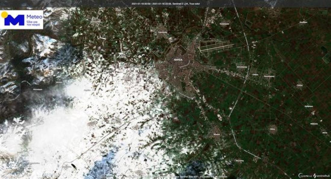 κακοκαιρία  Λέανδρος - χιόνια - δορυφορικές εικόνες
