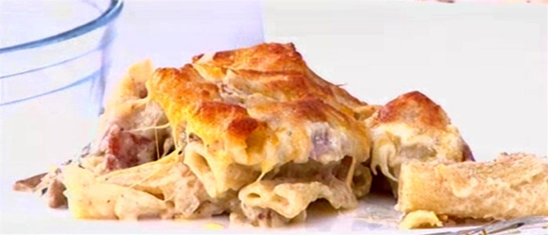Σουφλέ ζυμαρικών με τυριά και αλλαντικά στον φούρνο