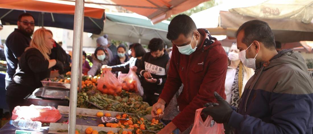 Λαϊκή αγορά - γάντια - μάσκα - κορονοϊός