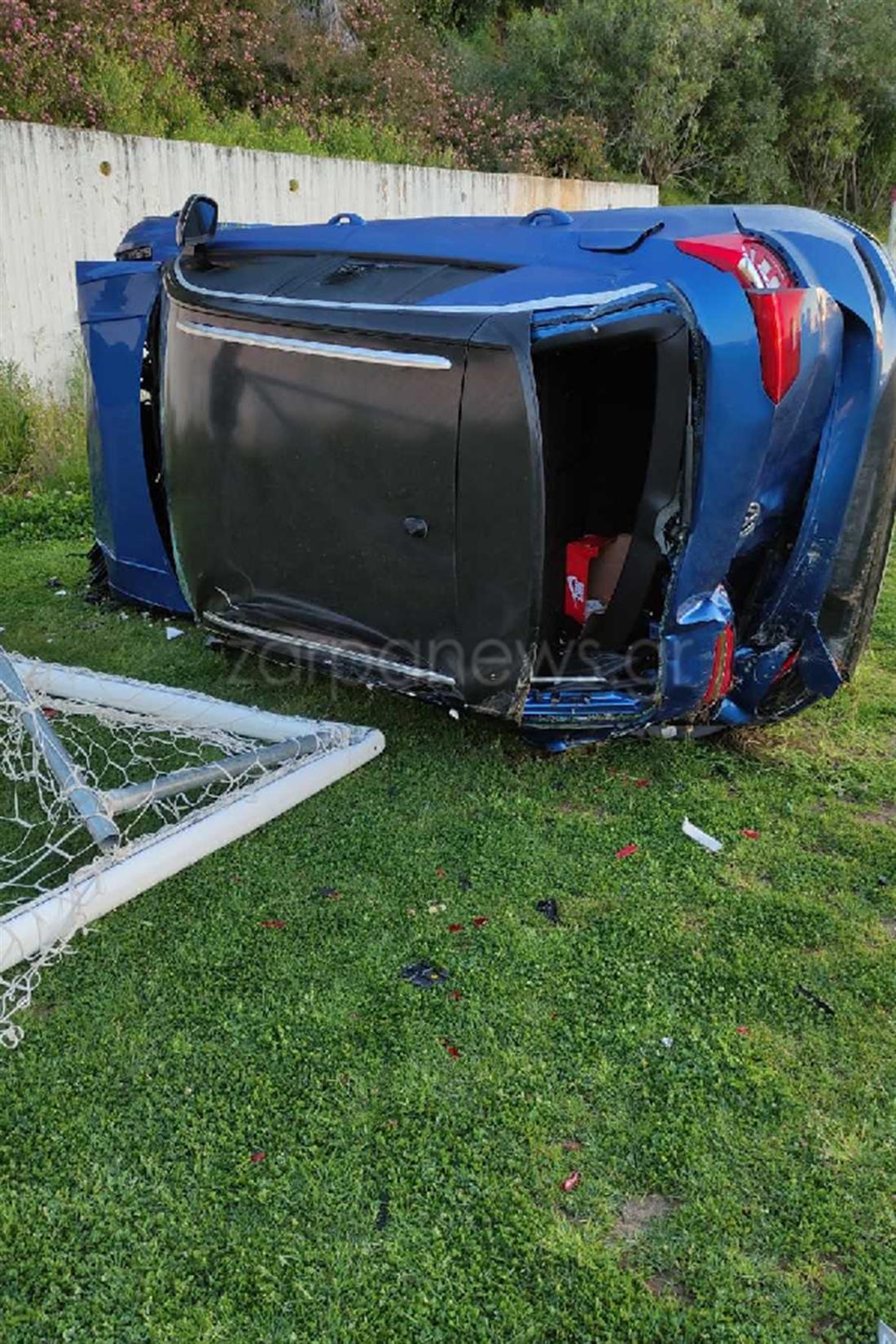 Χανιά - ατύχημα - αυτοκίνητο - γήπεδο Μοναχής Ελιάς