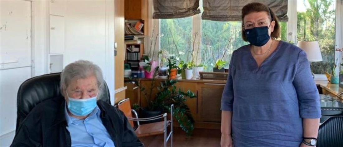 Συνάντηση Μίκη Θεοδωράκη με την Λίνα Μενδώνη