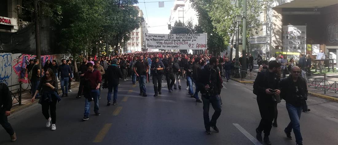 Πορεία φοιτητών μετά τα επεισόδια στην ΑΣΟΕΕ (εικόνες)