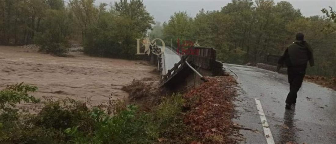 """""""Ιανός"""": κατάρρευση γέφυρας – αγνοούμενος οδηγός αυτοκινήτου (εικόνες)"""