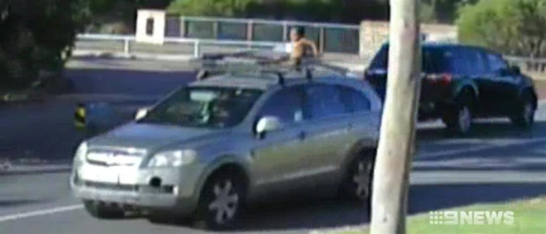 Βίντεο – σοκ: Οδηγούσε με τον 4χρονο γιο της στην οροφή του αυτοκινήτου