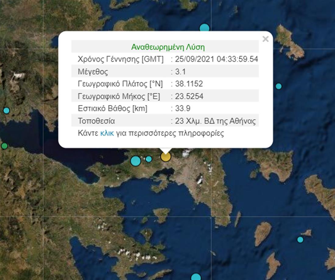 Γεωδυναμικό Ινστιτούτο - Σεισμός - Αθήνα