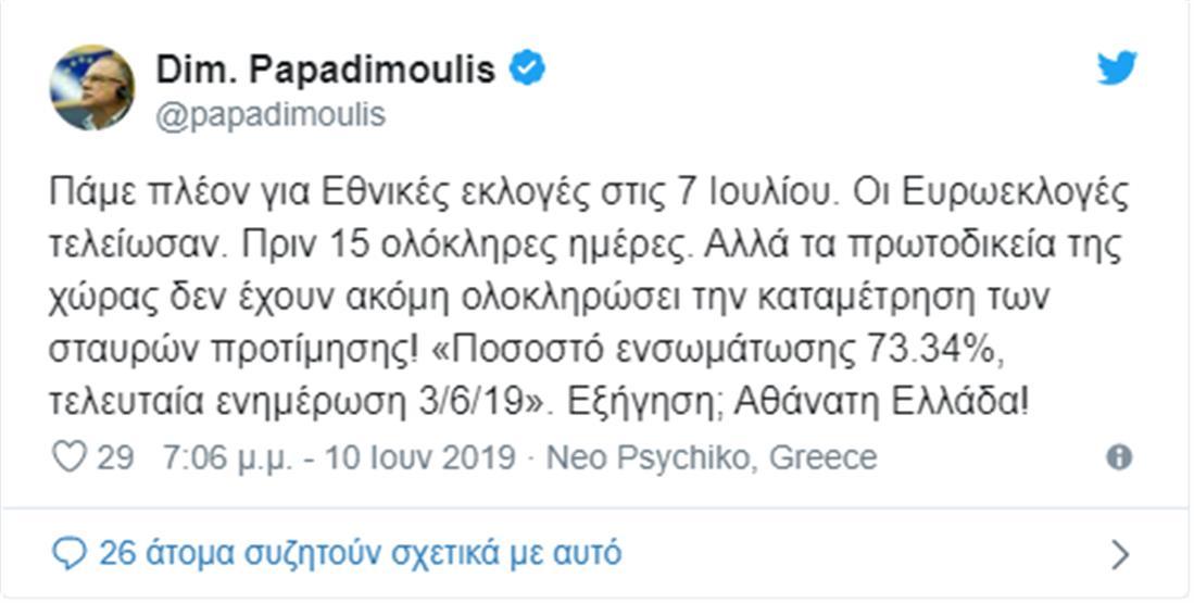 Εκλογές - Παπαδημούλης - tweet