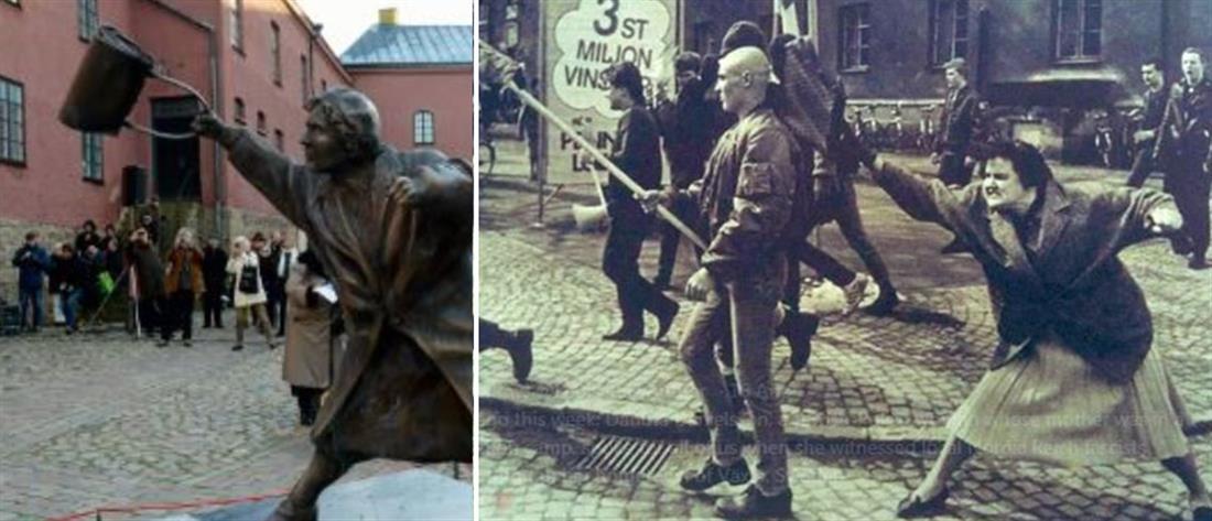 Τσαντιά στο κεφάλι: το άγαλμα με το αντιναζιστικό μήνυμα (εικόνες)