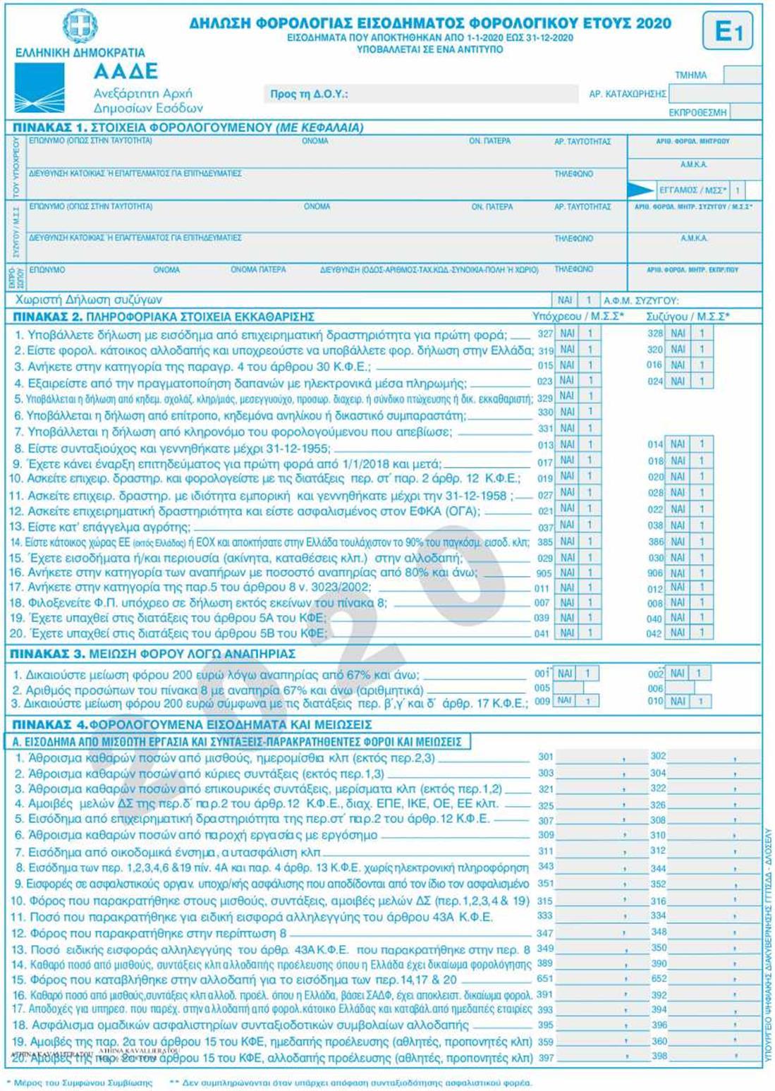 Φορολογικές δηλώσεις 2021 - Ε1 - σελ1