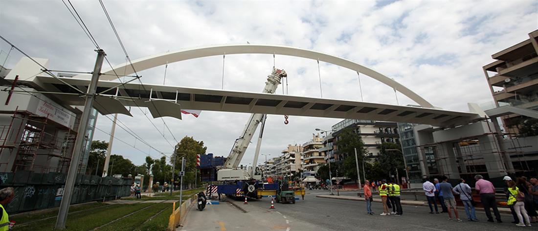 Κλειστή η Ποσειδώνος για την εγκατάσταση πεζογέφυρας (βίντεο)