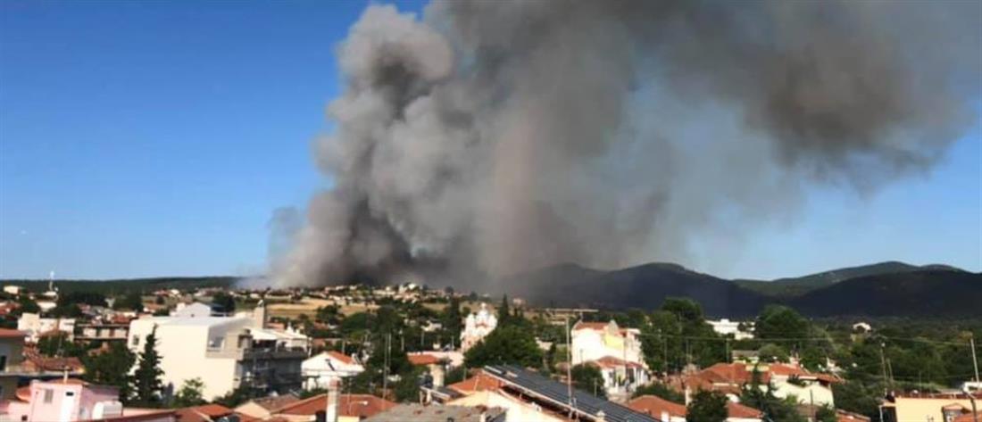 Μεγάλη πυρκαγιά στη Ροδόπη: κοντά στα σπίτια οι φλόγες (βίντεο)