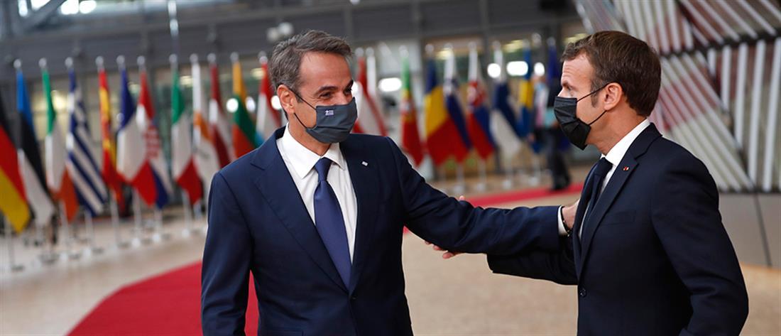 AP - Σύνοδος Κορυφής - Βέλγιο - Εμμανουέλ Μακρόν - Κυριάκος Μητσοτάκης
