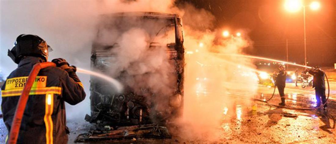 Φωτιά σε λεωφορείο εν κινήσει στη Μεσογείων