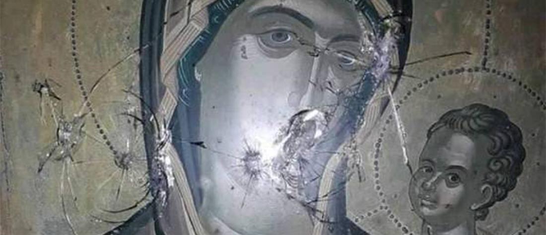 Εικόνες σοκ από τις χτυπημένες από σφαίρες εικόνες του Χριστού και της Παναγίας